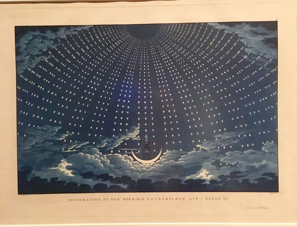 The moon and starry night in a classic design for Mozart's The Magic Flute