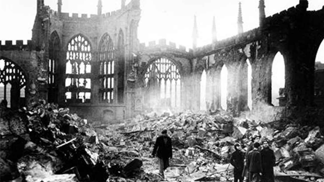 a bombed out Coventry Cathedral
