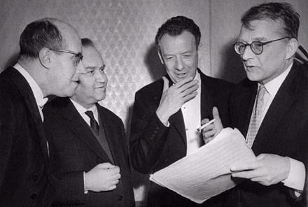 Benjamin Britten, center (with Rostropovich, Oistrakh, and far right, Shostakovich