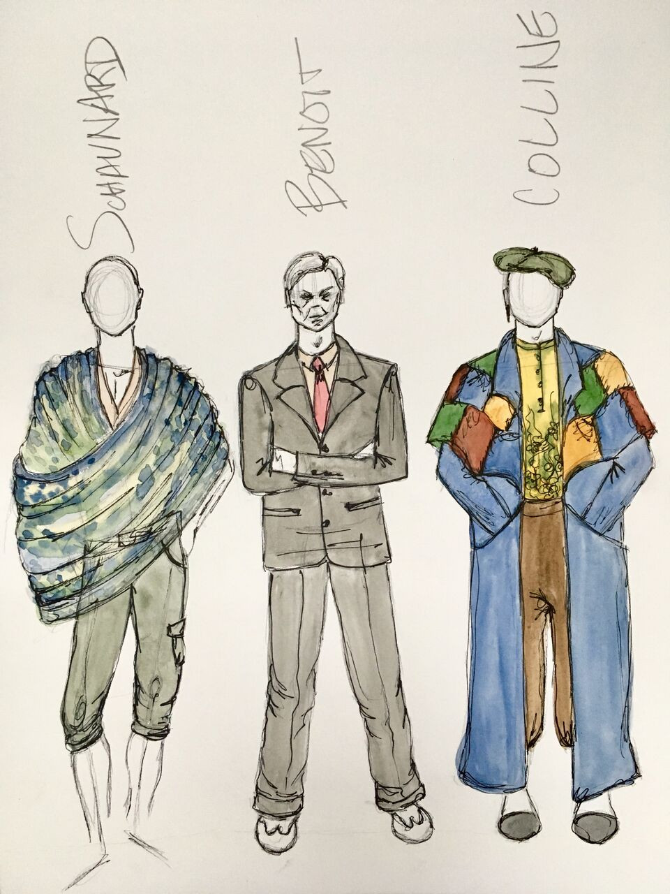 Costume sketches by Maddie Peterson for OR, 2018