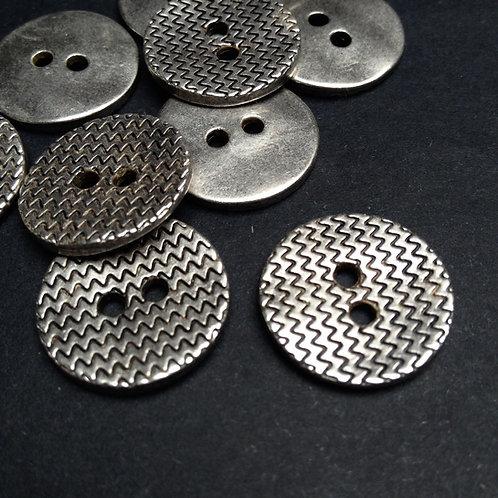 Metallknöpfe, altsilber, Zackenmuster, ab