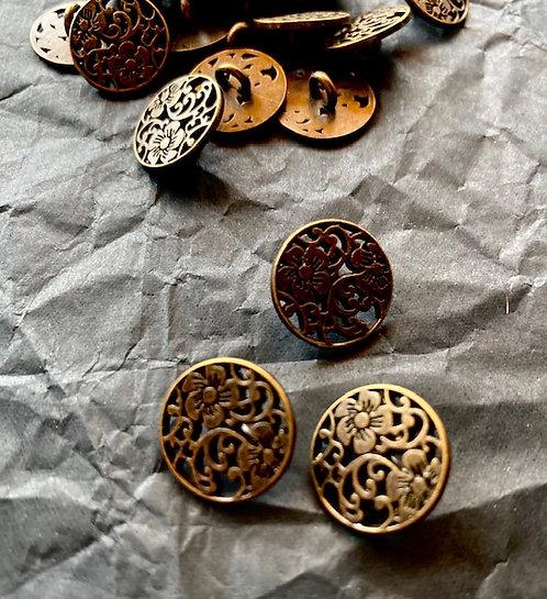 Metallknöpfe mit Steg, altmessing, Blumenmuster