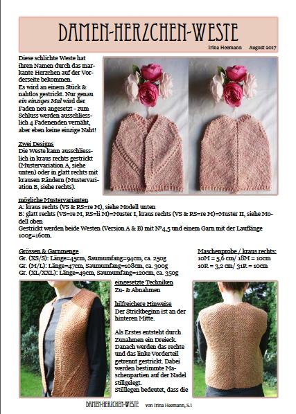 Damen Herzchenweste, digitale Anleitung
