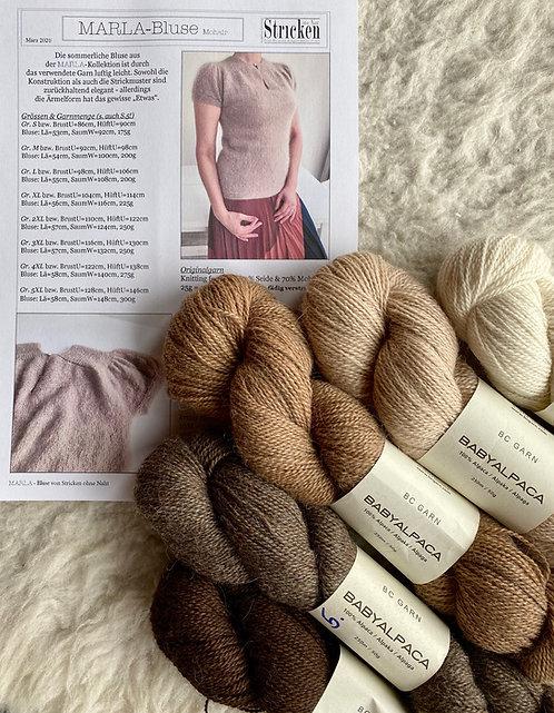 MARLA-Bluse, Wollpaket/Babyalpaka von BC Garn, ab