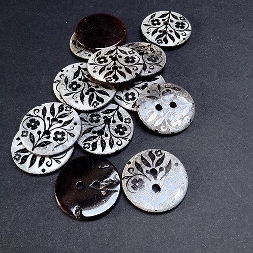 Perlmuttknöpfe, Black Pen, floralem Muster