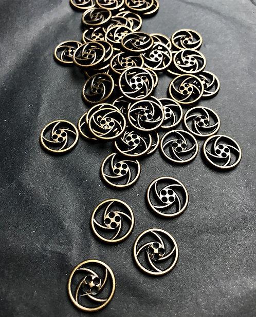Metallknöpfe, durchbrochen, altmessing