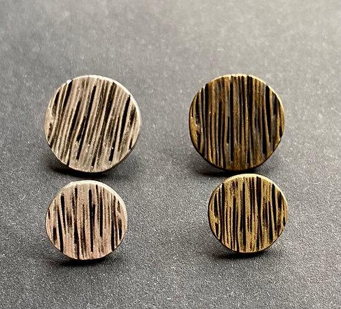 Metallknöpfe mit Steg, altsilber&altmessing,  Streifenmuster, ab