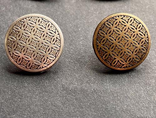Metallknöpfe mit Steg, altmessing & silber, Ornamentmuster