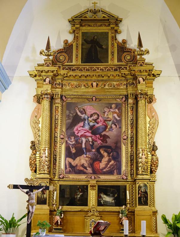 Retablo de la iglesia de san Miguel de Chodes (Zaragoza). Una magnífica obra de fray Manuel Bayeu.