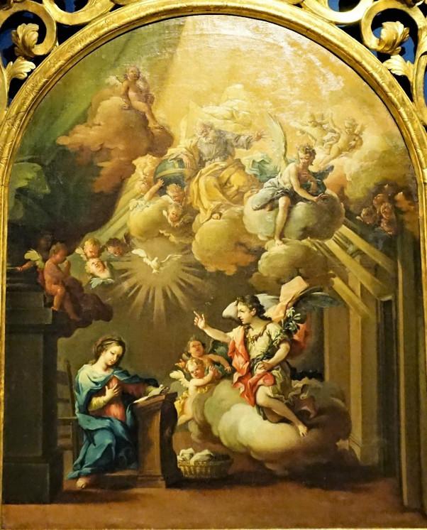 La Anunciación. Una delicada obra del pintor aragonés José Luzán Martínez.