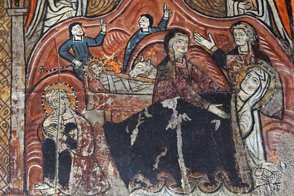 Frontal de altar de la Vida de la Virgen. Iglesia de Santa María de Iguacel. Hoy en el Museo Diocesa