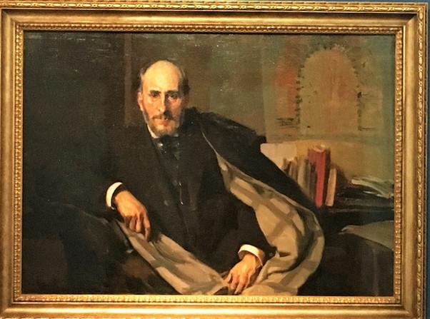 Santiago Ramón y Cajal bajo la mirada del pintor Joaquín Sorolla. Museo Provincial. Zaragoza.