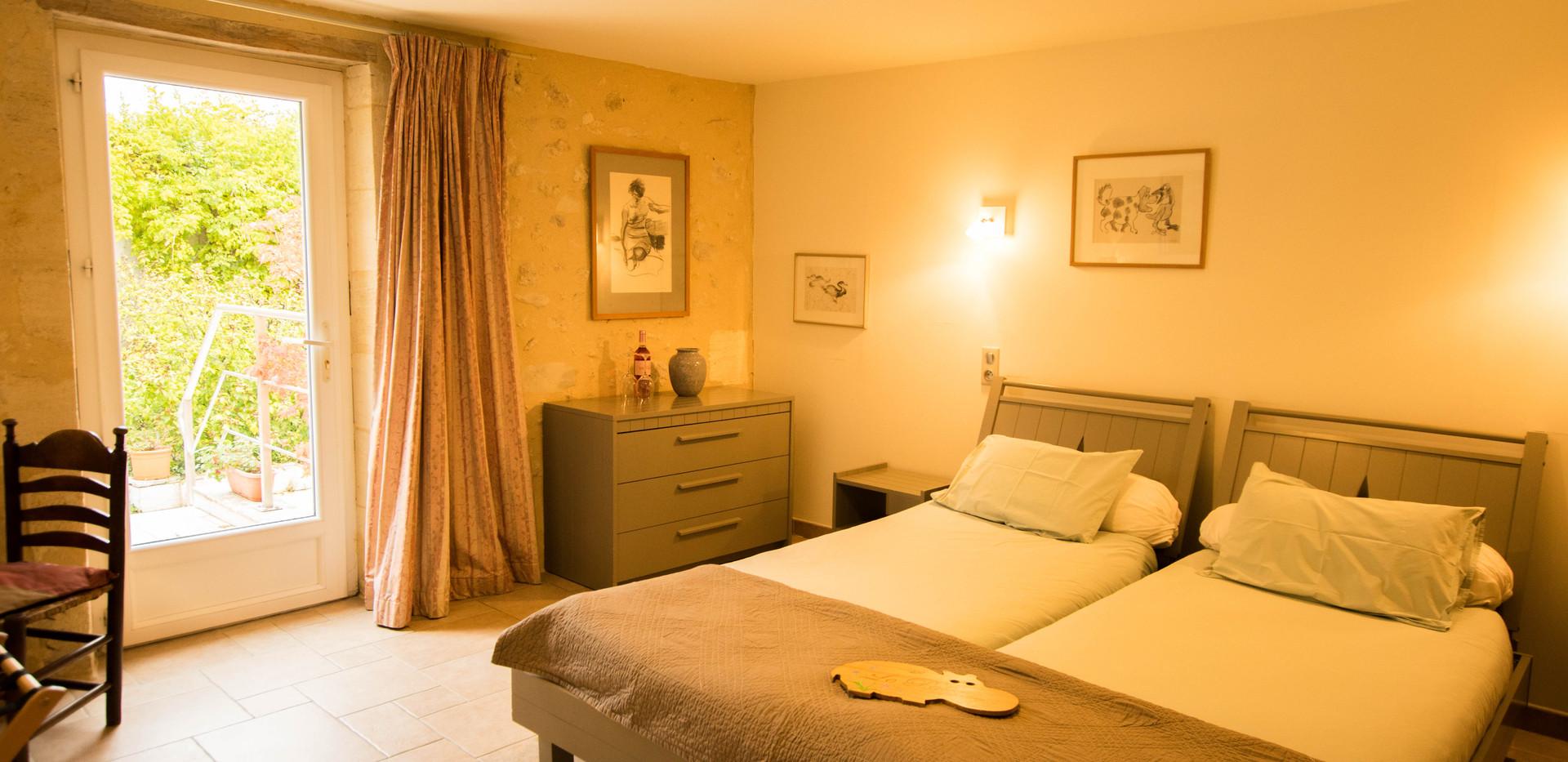 Chambre Patio - deux lits jumeaux