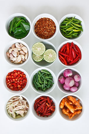 Spicy ingredients such as fresh chili, scallion, onions, lemon grass. garlic and more