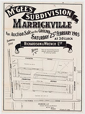 1905 McGee's subdivision, Marrickville -