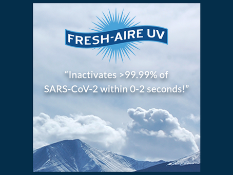 Fresh-Aire UV Inactivates >99.99% of SARS-CoV-2 within 0-2 seconds!
