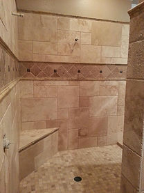 custom stone shower tile installation