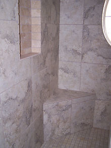 niche seat shower window tile installation