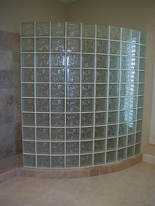 glass block curved shower wall