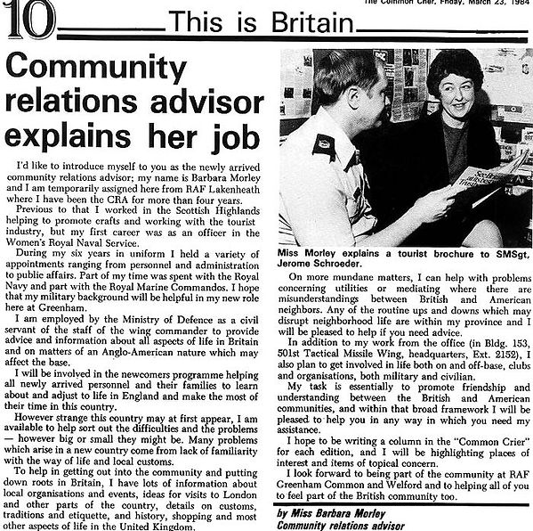 Greenham Common Community Relations 1984