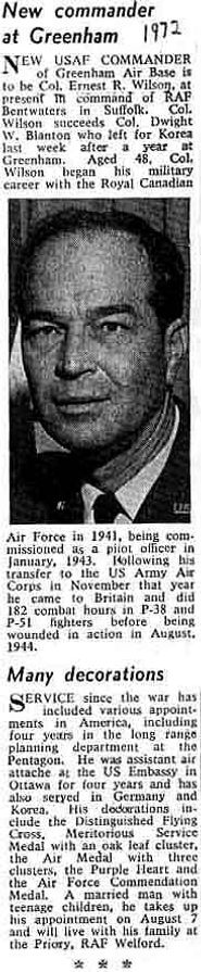 Colonel Wilson takes command at Greenham Common in 1972