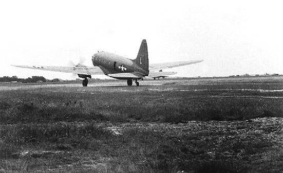 C-46 parked at Greenham Common