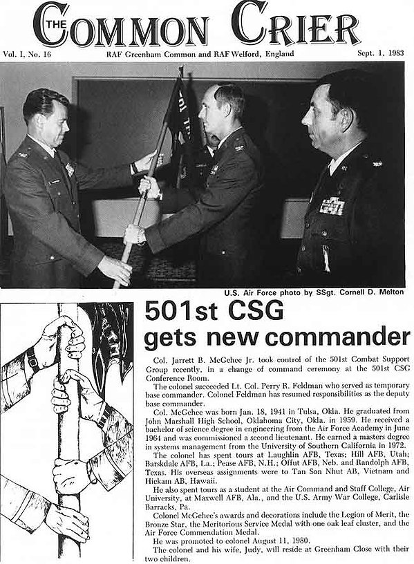 Change of command at Greenham Common in 1983