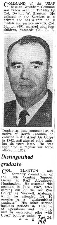 Colonel Blanton takes command at Greenham Common in 1971