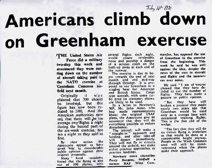 Operation Flintlock at Greenham Common 1970