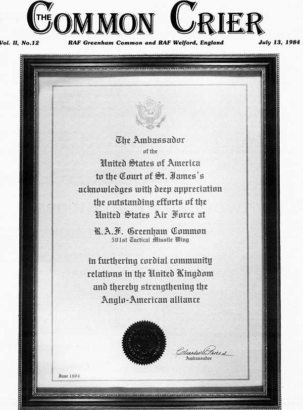 US ambassador's award to airmen at Greenham Common in 1984