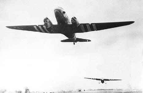 Glider on tow at Greenham Common by a C-47
