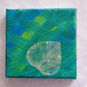 """""""Concerto pour feuille et vert profond"""" Tableau 10 x 10 cm, peinture acrylique sur toile tendue sur châssis en bois, tranche argentée. Verni (protège les couleurs)."""