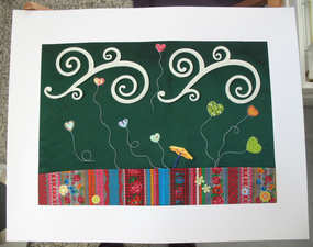 """""""L'oasis"""" Collage 40 x 30 cm, tissus, feutrine, stickers, fil de couture"""