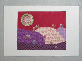 """""""La vie, vachement bien !"""" Collage 30 x 40 cm, tissus, disque métallisé, stickers"""