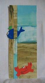 """""""La baleine qui voulait voir la terre et le crabe qui voulait voir la mer"""", collage et peinture. Gouache et animaux en mousse"""