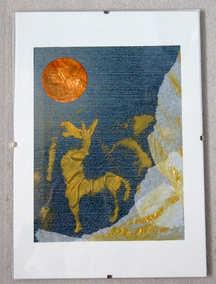 """""""Le zèbre qui voulait gober la lune rousse"""", collage et peinture or sur tissu jean"""