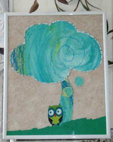 """""""Rêver, tellement chouette..."""" Collage 24 x 30 cm, tissus, gouache, pastel gras - Encadré"""