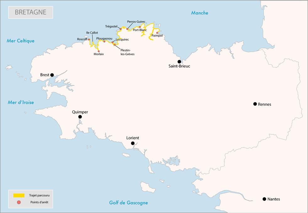 Bretagne - itinéraire parcouru