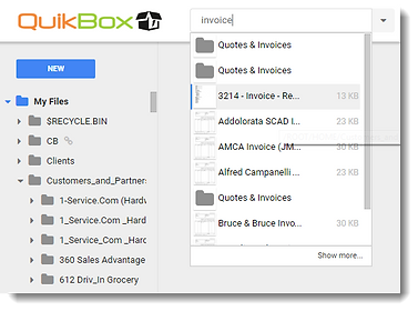 QuikBox Web File Share - Search for files
