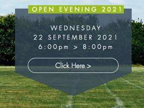 Open Evening > Wednesday 22 September 2021