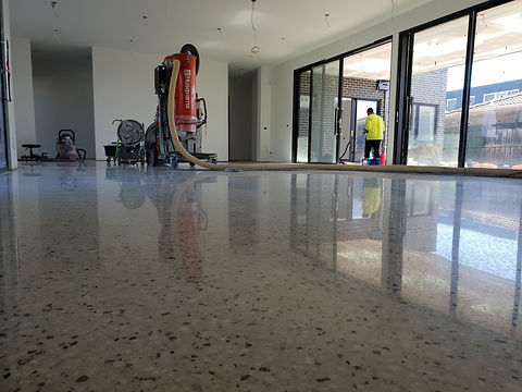 Polished Concrete - Semi Gloss finish - Full stone exposure -Bentleigh VIC - GALAXY Concrete Polishing & Grinding