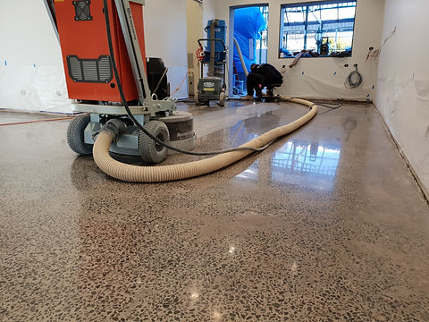 GALAXY Concrete Polishing & Grinding - Polished Concrete Semi Gloss Full Stone exposure - Retail Shop Caulfield Sth