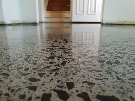 Polished Concrete Matte finish Full Stone Exposure - GALAXY Concrete Polishing & Grinding
