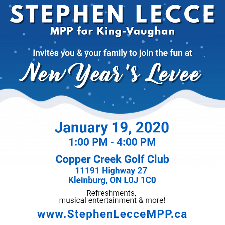 MPP, Stephen Lecce - New Year's Levee