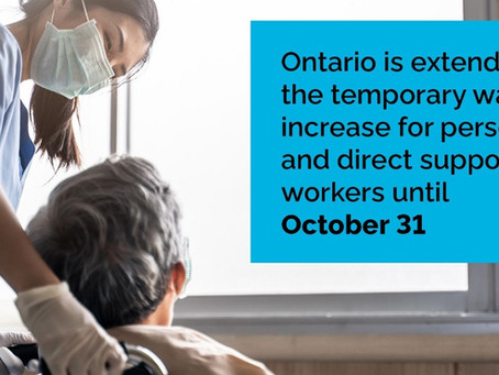 Ontario Further Extending Temporary Wage Increase for Personal Support Workers