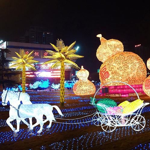 Double horse fruit cart Sculpt Landscape Light