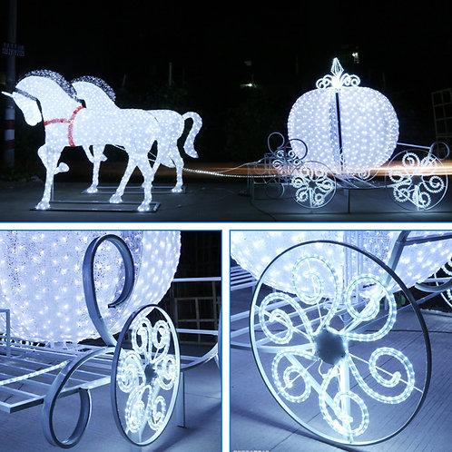 Double horse-drawn cart Sculpt Landscape Light