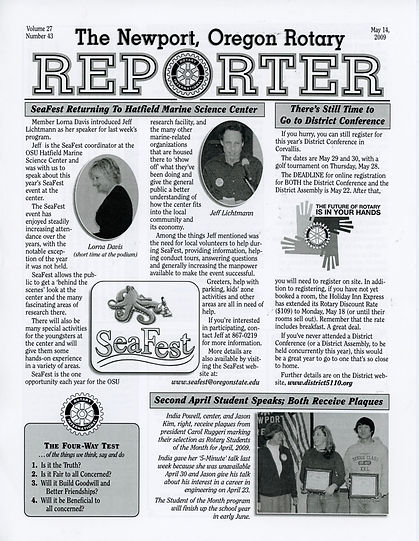 Rotary of Newport, Oregon May 14, 2009 newsletter