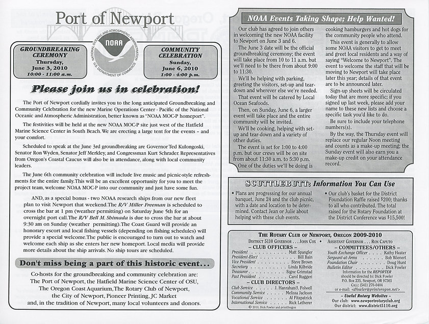 Rotary of Newport, Oregon May 27, 2010 newsletter