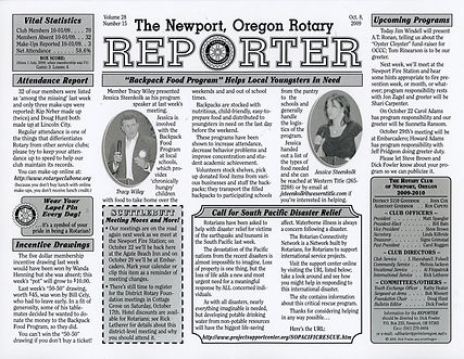 Rotary of Newport, Oregon October 8, 2009 newsletter